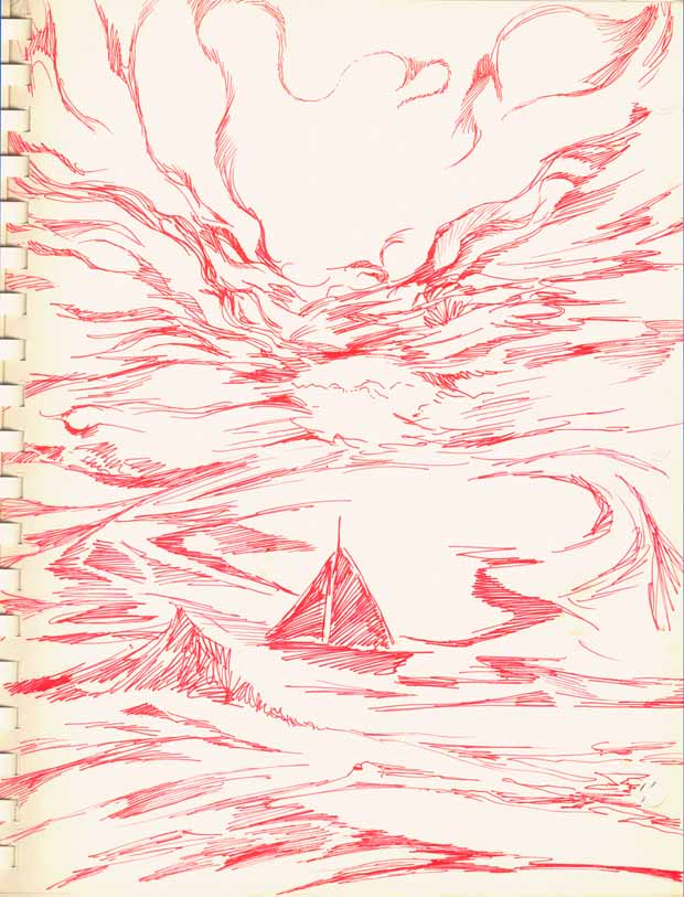 Sailboat 1983 Red Ink