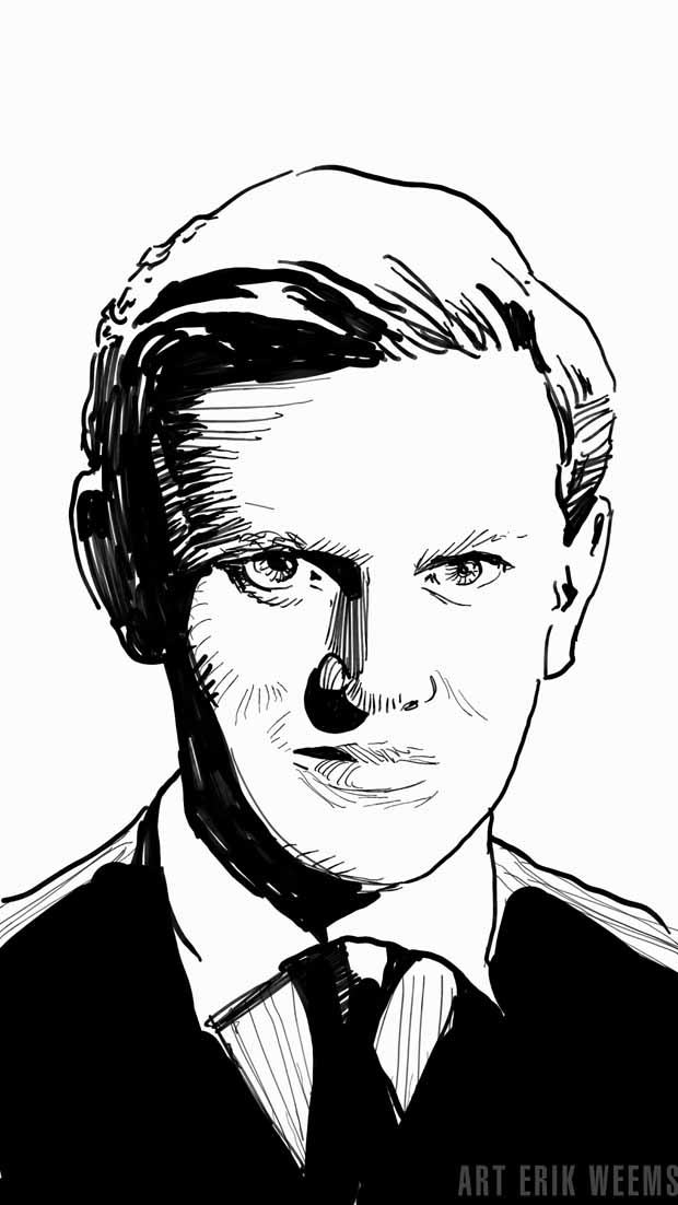 Evelyn Waugh art by Erik Weems