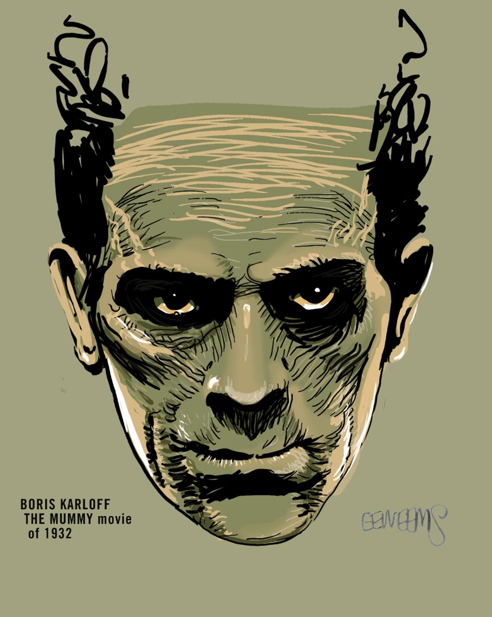 Boris Karloff Movie Mummy art