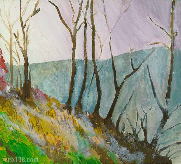 Oil painting tree line