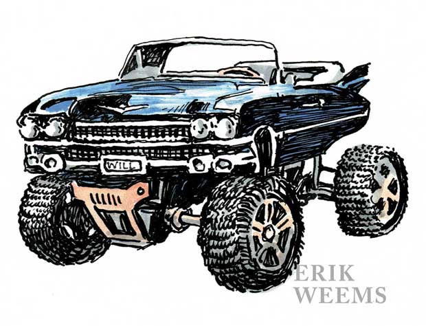 MonsterCar Truck Pen and Ink Erik Weems