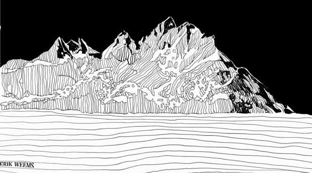 Mountain Line Art Inked by Erik Weems