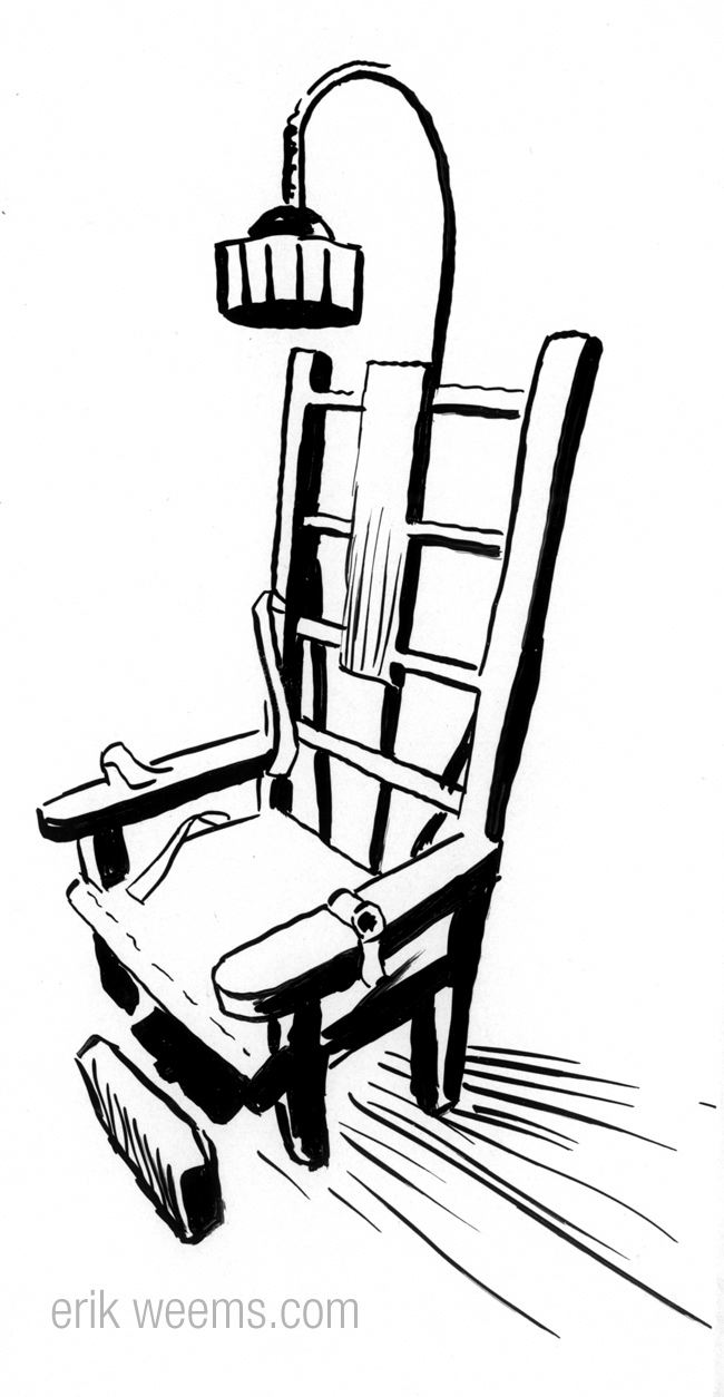 electric chair ink drawing